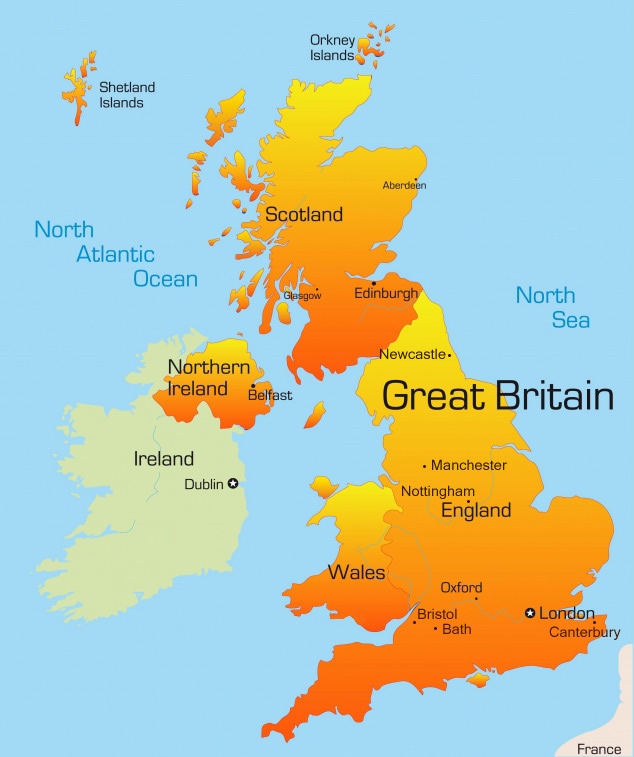 Map of the United Kingdom and Ireland Royalty Free Vector |United Kingdom Scotland Ireland